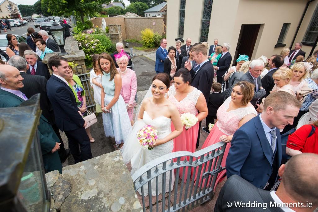 bridemaids helping bride
