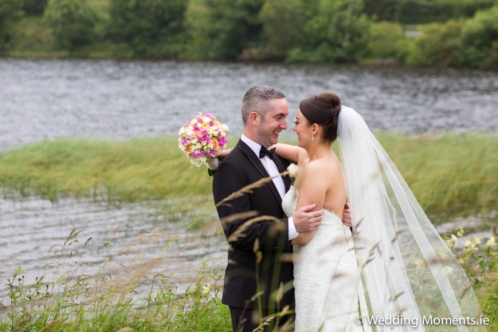 bride and groom with beautiful scenery around them