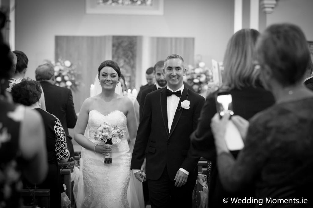 bride and groom leaving the church in sligo