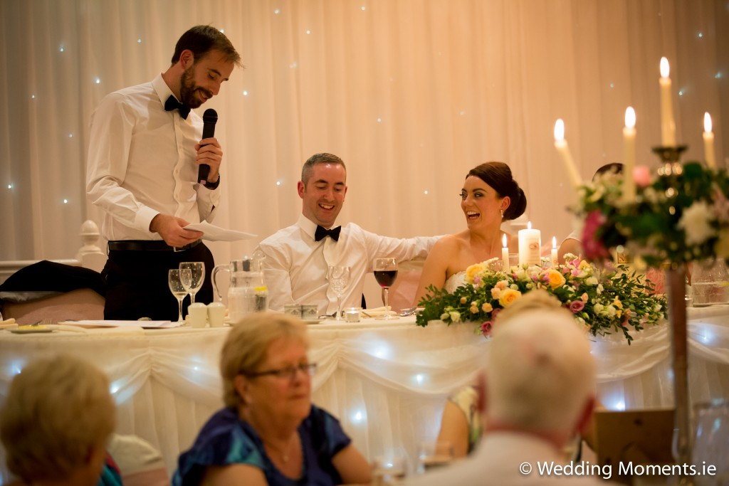 best man telling funny story