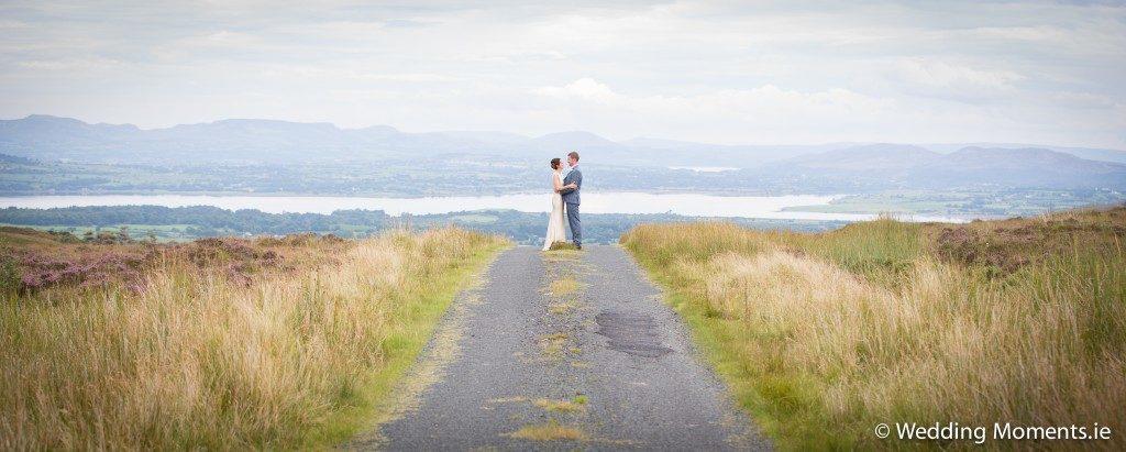 bride and groom standing at ladies brae sligo