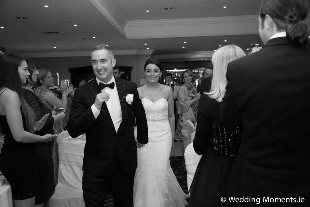 bride and groom making there entrance into the ballroom in the diamond coast hotel in enniscrone co.sligo