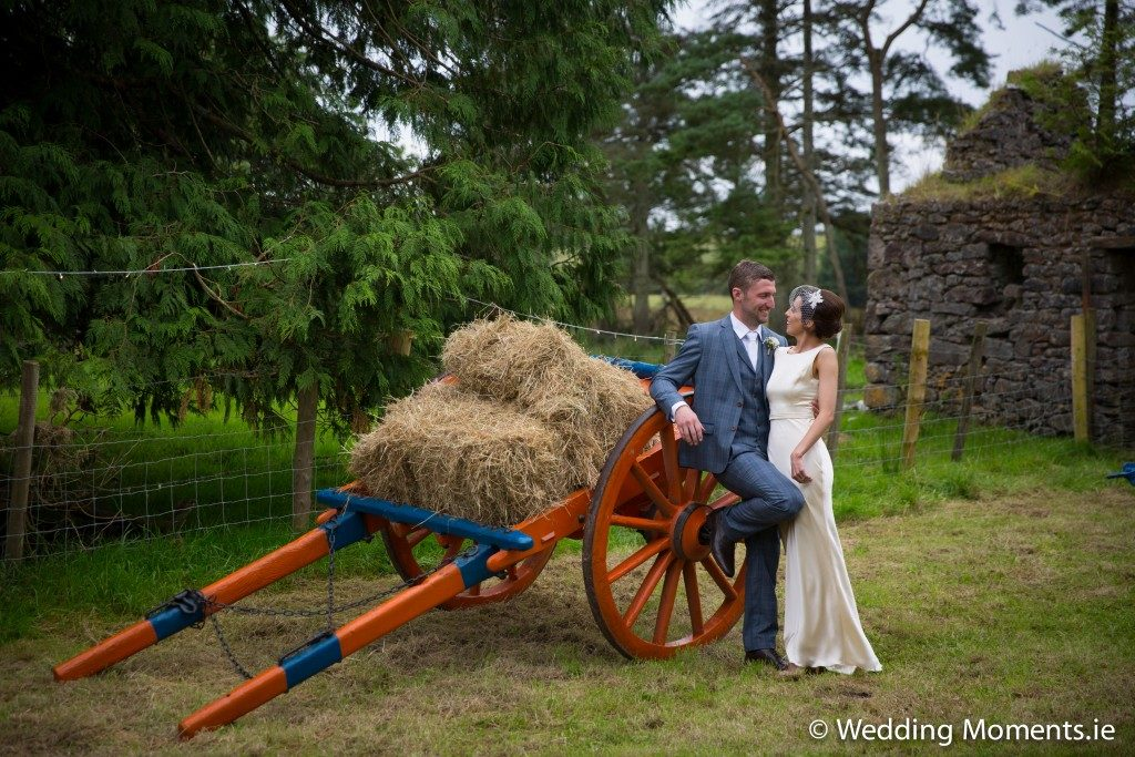 bride and groom at old cart