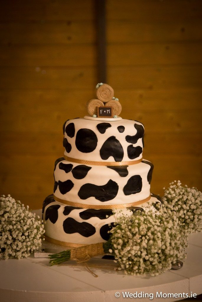 wedding cake with friesian cow design farmer theme